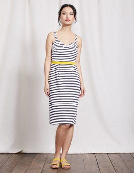 Ivory/Navy Aurelie Jersey Dress