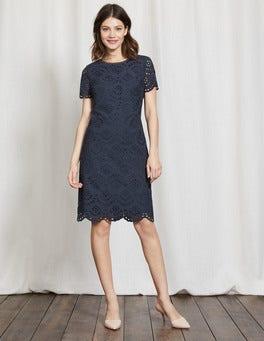 Navy Isadora Broderie Dress