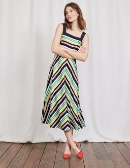 Navy/Greenhouse Multistripe Andrea Dress
