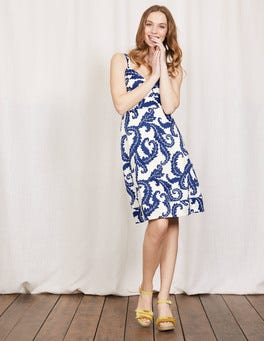 Santorini Blue Acanthus Leaf Nicole Dress