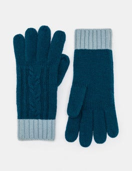 Dark Cyan/Washed Blue Cable Knit Gloves
