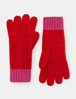 Post Box Red/Party Pink Cable Knit Gloves