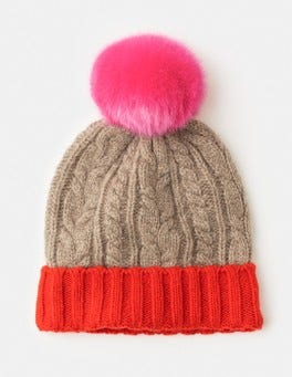 Party Pink/Truffle Cable Knit Hat
