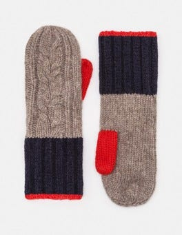 Truffle/Navy/Post Box Red Cable Knit Mittens