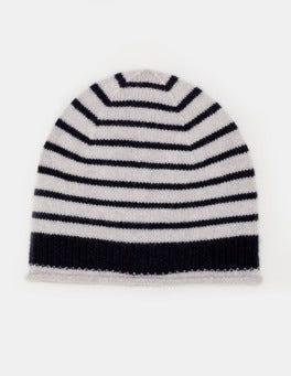 Navy & Silver Melange Stripe Cashmere Hat