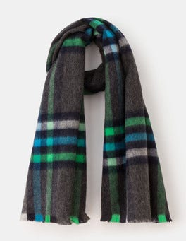 Green and Ocean Ripple Check Wool Check Scarf