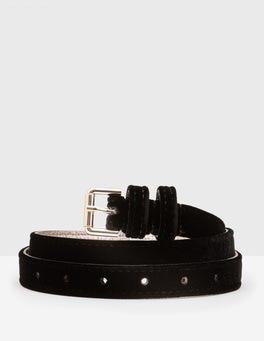 Black Velvet Skinny Belt