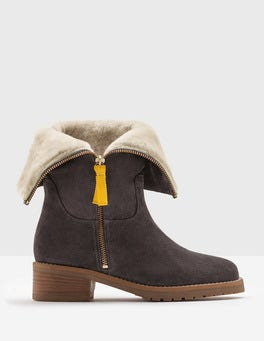 Pewter Fold-Over Sherpa Boots