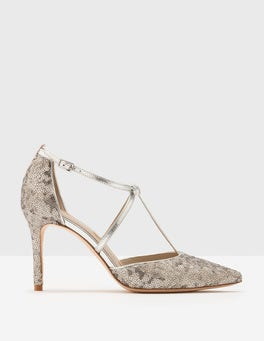Silver Sequin Jennifer T-Bar Heels