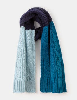 Navy/Washed Blue Cable Knit Scarf