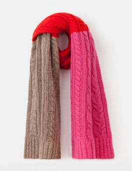 Party Pink/Truffle Cable Knit Scarf
