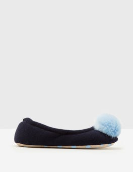 Navy Knitted Pompom Slippers