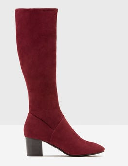 Dark Burgundy Round Toe Stretch Boots