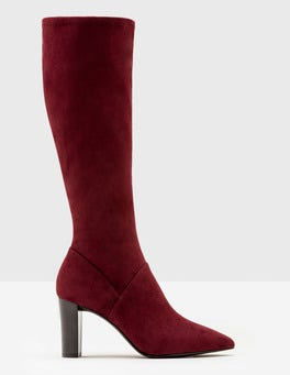 Dark Burgundy Pointed Stretch Boots