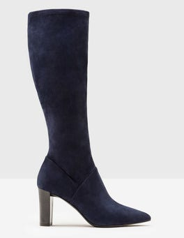 Navy Pointed Stretch Boots