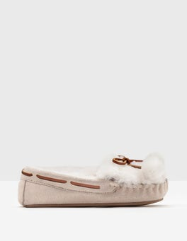 Rose Gold Pompom Moccasin Slippers