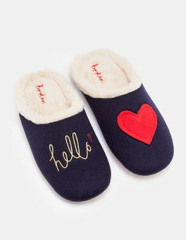 Navy Knitted Slipper Mules