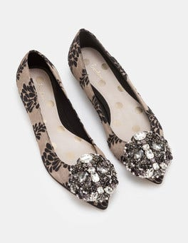Black and Pewter Jacquard Rosalie Flats