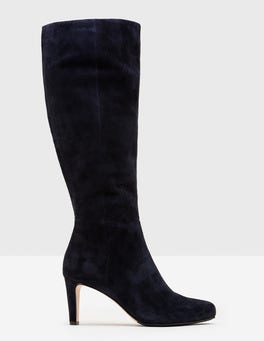 Navy Knee-High Suede Boots