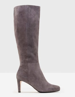 Pewter Knee-High Suede Boots