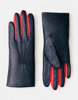 Navy/Post Box Red Leather Gloves