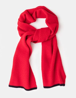 Postbox Red Textured Knit Scarf