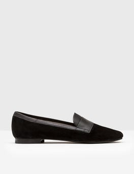 Black Suede Suede Slipper Shoe