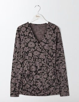 Pewter Shadow Floral Long Sleeve Wrap Top