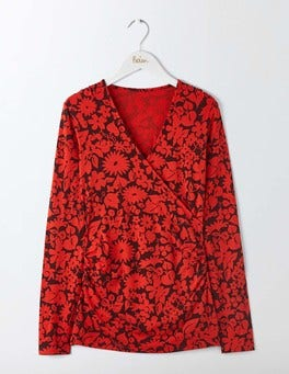 Post Box Red Shadow Floral Long Sleeve Wrap Top
