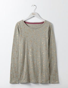 Grey Wobbly Spot Statement Long Sleeve Tee