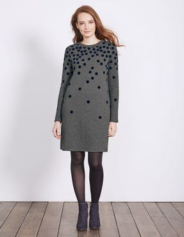 Charcoal Spot Flocked Spot Sweatshirt Dress