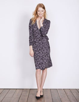 Pewter Shadow Floral Wrap Jersey Dress