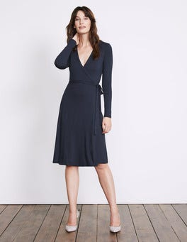 Navy Wrap Jersey Dress