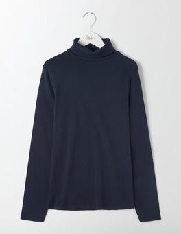 Navy Essential Roll Neck Tee