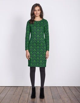 Green Laurel Jacquard Guinevere Jacquard Dress