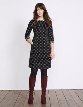 Black/ Ivory Justine Jacquard Dress