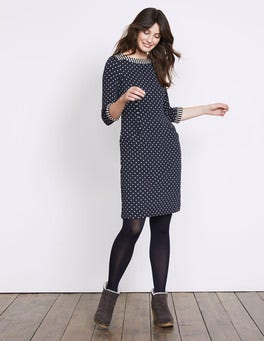 Navy/ Ivory Justine Jacquard Dress