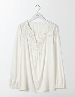 Ivory Velma Lace Detail Top