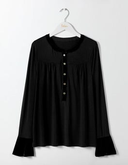 Black Nadine Velvet Trimmed Top