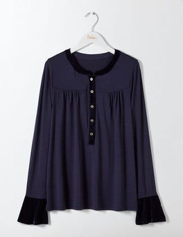 Navy Nadine Velvet Trimmed Top