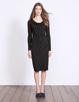 Black Polka Dot Helena Cowl Neck Dress