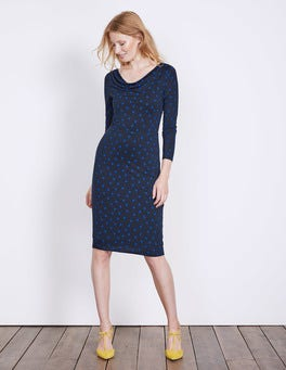 Navy Polka Dot Helena Cowl Neck Dress