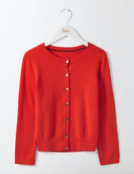 Red Pop Cashmere Crop Crew Cardigan