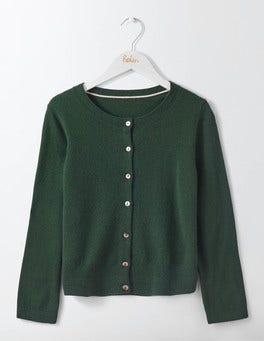 Emerald Night Cashmere Crop Crew Cardigan