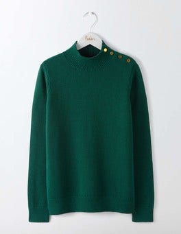 Deep Forest Tessa Button Neck Sweater