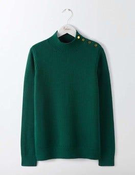 Deep Forest Tessa Button Neck Sweater