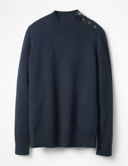 Navy Tessa Button Neck Sweater