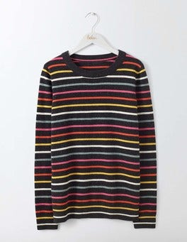 Charcoal Stripe Cashmere Crew Neck Sweater