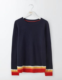 Red Pop Multi Stripe Cashmere Crew Jumper