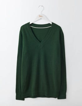 Emerald Night Cashmere Relaxed V-Neck Sweater